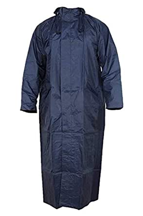 Magic Women's Nylon Hooded Waterproof Long Lightweight Waterproof Raincoat Overcoat Full Length (Blue)