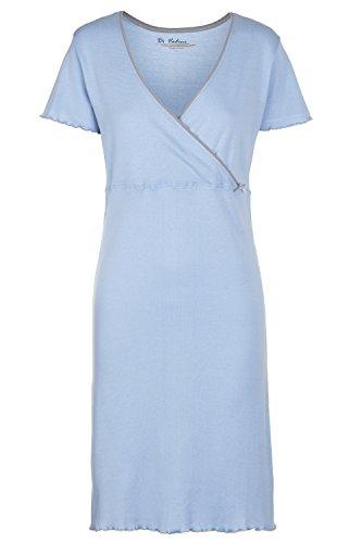 Di Vadini Umstandsnachthemd / Still-Nachthemd ALESSIA aus 100% Baumwolle / kurzarm Himmelblau