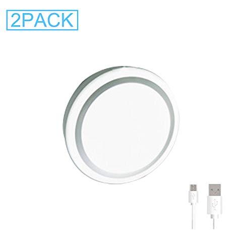 DYJD USB Wiederaufladbare Puck Lichter Wireless LED Bewegungssensor Schrank Lichter Schrank Lichter Für Zähler, Speisekammer, Kleiderschrank, Flur, Treppen 2 Teile/Paket,White -