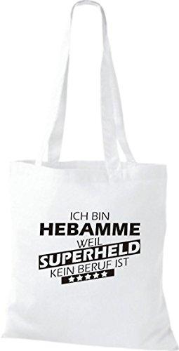 Shirtstown Sac en tissu Ich bin Sage-femme, parce que Superheld aucun Occupation est Blanc
