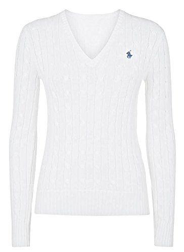 Ralph Lauren Cable Knit V-Neck Cotton Damen Sommer Pullover Zopfmuster classic white Größe L (40) (Ralph Lauren Knit Sweater Cable)