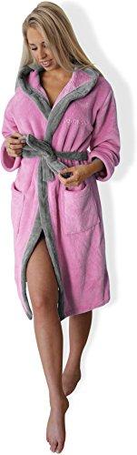 Bademantel mit Kapuze Damen Herren, Morgenmantel weich und super flauschig, Coral Fleece Saunamantel lang, in den Größen XS bis XXXL Farbe Rosa/Silber Größe XXL
