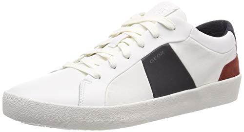 Geox U Warley B Baskets Basses Homme, Blanc (White/Navy C0899) 43 EU