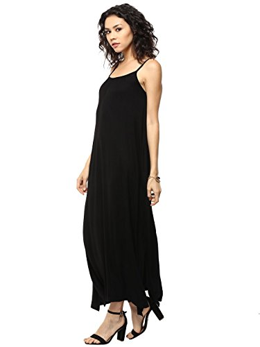 Femella Women's Black Gathered Jersey Maxi dress( DS-1478500-1030-BLK-L)  available at amazon for Rs.545