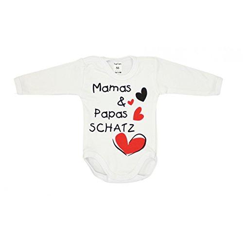Baby Body mit Aufdruck: MAMAS & PAPAS SCHATZ und Herzmotiv Langarm-Body Mädchen Babybody Jungen, Farbe: Weiß - Mamas Papas Schatz, Größe: 56