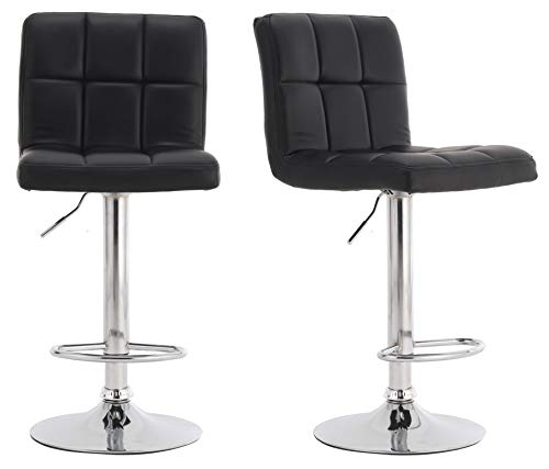 Millhouse Pair Of Cuban Bar Stools Set With Backrest Leatherette Exterior Adjustable Swivel Gas Lift Chrome Footrest And Base For Breakfast Bar