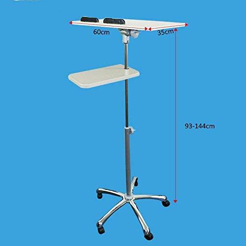Mobile Pc-wagen (CWJ Haushalt Kleine Tisch Mobile Stand Up Schreibtisch Höhe Einstellbar Computer Workstation Rolling Präsentation Wagen mit Mauspad und Räder Einfache Kreative Bett Multifunktions Tisch,B (93-124) cm)