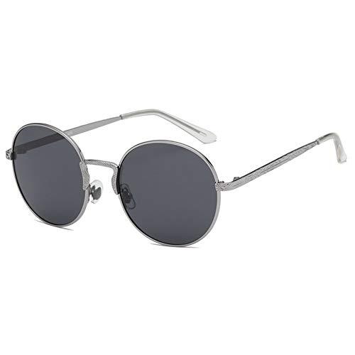 GOLDT1 Reflective Lens Round Trendy Sunglasses Retro kleine runde Rahmen Klassische Sonnenbrille polarisierte Sonnenbrille , Fahren unerlässlich (Size : Gray Lens)