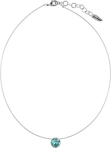 Petra Kupfer Schwebender Stein an hauchdünnem Stahlseil, 9mm Swarovski Chatonstein, silberfarbig, Farbe:Light Turquoise