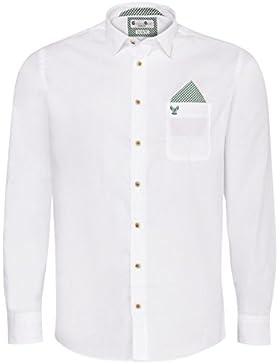 Gweih und Silk Trachtenhemd Body Fit Quirin Zweifarbig in Weiß und Grün