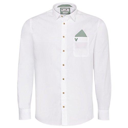 Gweih und Silk Trachtenhemd Body Fit Quirin Zweifarbig in Weiß und Grün, Größe:M, Farbe:Weiß