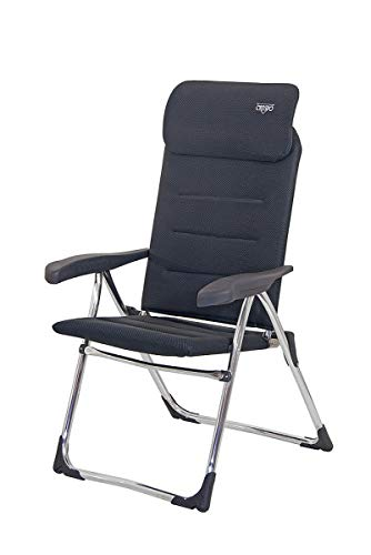 Crespo Neuf - Stabielo Fauteuil Pliant Compact de Luxe Anthracite - avec Partie Tête Amovible - Aluminium Tube Ovale - Distribution par Holly prodkte Stabielo Faible Surface de Rangement de