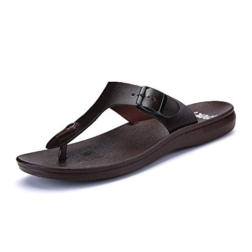 Mzq-yq Fashion Casual Flip Flops, Summer Thong Sandals, T Strap Sandalen, Adjustable Buckle Design, Open Toe Slippers,Brown,41 Buckle Thong Sandal