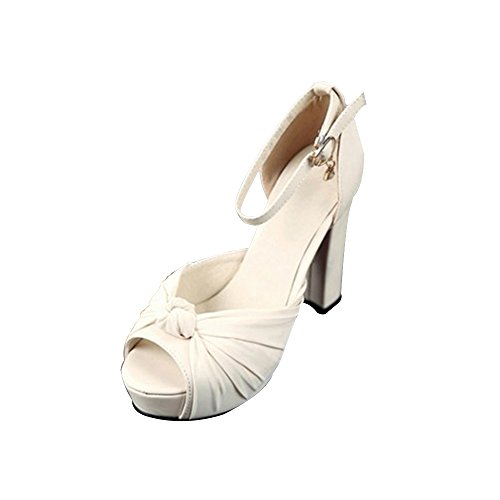 Damen Plateau Sandalen Block Absatz chunky heels Schnalle Einfach Knöchelriemen Plattform Beige
