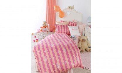 Curt Bauer Ballon 2500 Mako-Brokat-Damast Kinderbettwäsche, 100/135 + 40/60, 0117-orange-pink