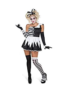 Karnival Costumes- Evil Harlequin Girl Disfraz, Color negro y blanco, medium (81242)