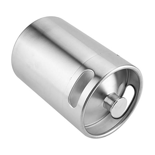31w1B0eo%2BtL. SS500  - Beer Barrel Mini Keg Style Growler Stainless Steel Beer Supplies Holds Beer Double Handles for Home Camping Picnic (2L)