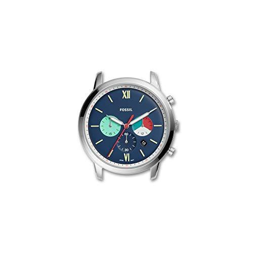 Fossil C221053 - Reloj de Cuarzo para Hombre, Acero Inoxidable, Color Plateado y Azul Marino