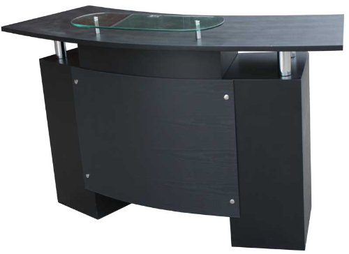 FIGARO Rezeption Rezeptionstheke mit Chromfüßen und Frontblende sowie Glasablage Farbe schwarz