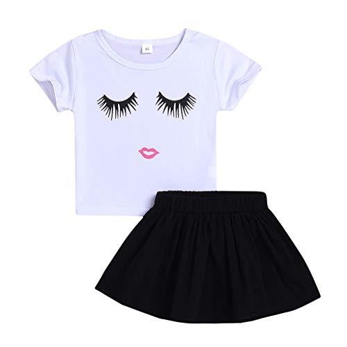 Kinder Mädchen Kleidung Set, Evansamp Kleinkind Kinder Baby Mädchen Rock Set Mode Cartoon Lächelndes Gesicht Drucken T Shirt Tops Röcke Outfits(Weiß,100) -