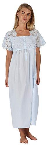 The 1 for U 100% Baumwolle Kurzarm Nachthemd 6 Größen - Elizabeth - Blau, XL (Aus Baumwolle-xl Nachthemd)