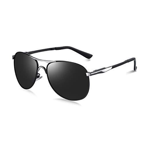 WHCREAT Polarized Sonnenbrille Pilot Style mit Federscharnieren UV400-Schutzglas für Herren (Silbernen Rahmen schwarze Linse)