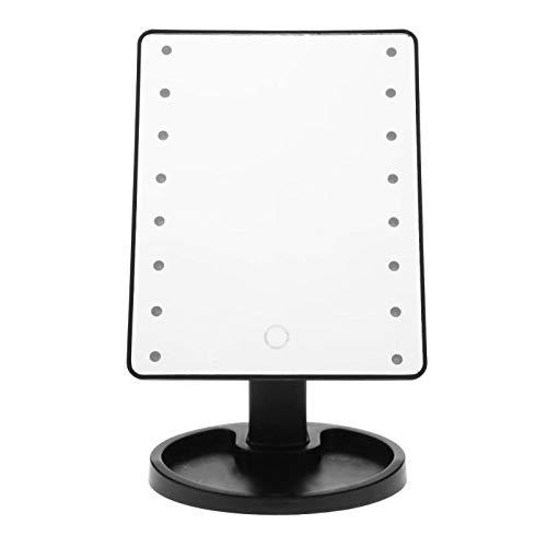 Qinqin666 Led Light Makeup Mirror Touch Screen Professional Vanity Mirror Mit 25x21.5x7cm Schwarze 16 Lampen