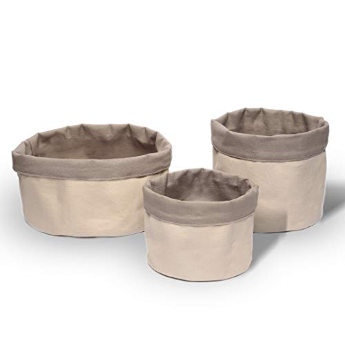 Lonvalo I 1001, Bosa I Aufbewahrungskorb Brotkorb Obstkorb (3er-Set) aus hochwertiger Baumwolle - Runder Korb als Aufbewahrungsbox Stoffkorb - Ideal für vielfältigen Einsatz im Haushalt
