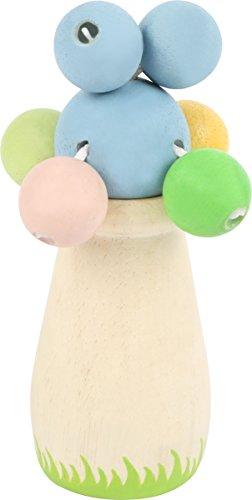 TÜV zertifizierte Babyrassel aus recyceltem Holz mit pastellfarbenen Kugeln an Bändern zum Klappern, passt ideal in eine Babyhand, farb- und speichelfest