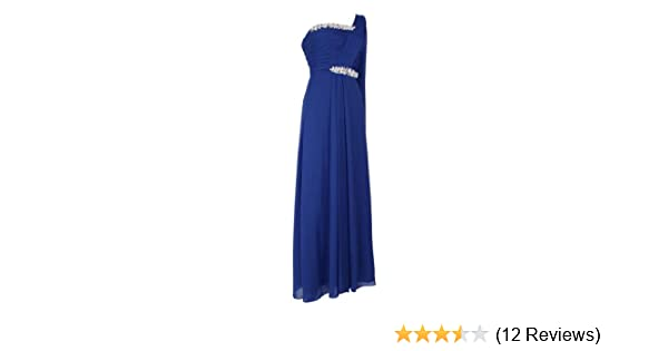 Long One Shoulder Evening Dresses Elegant Chiffon Dress Formal Cocktail Classic Bridesmaids gowns Prom Ruffled Sleeveless Broche Ladies Blue Size 22: ...