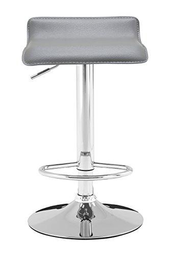 Premier Housewares Carter Bar Hocker mit PVC-Sitz, Metall, 38x 39x 87cm, metall, grau, 38 x 39 x 87 cm