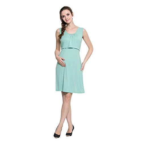 Damen Still Kleid,Briskorry Frauen Umstandskleid Stillkleid Umstandsmode Schwangerschafts Kleid Rundhals Pflege Mutterschaft Weste Kleid Stillen Skaterkleid Schwangere