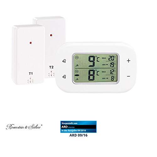 Rosenstein & Söhne Kühlschrankthermometer: Digitales Kühl- & Gefrierschrank-Thermometer, 2 Funk-Sensoren, weiß (Kühlschrankthermometer Funk)