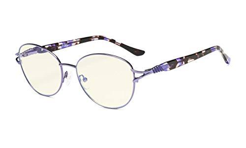 Eyekepper-Computer lesen Brille,Blaulichtfilter Leser,Stilvoll Katzenauge Runden Brille Frauen,Lila+1.75