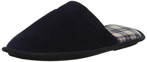Totes Mens Check Lined Cord Mule Slipper, Pantoufles Homme