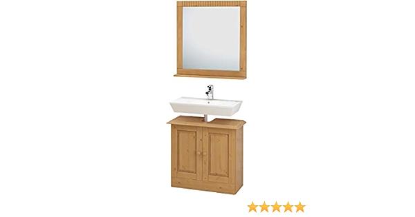 Loft24 Cheryl Bathroom Furniture 2 Piece Set Combination Mirror Cabinet Bathroom Vanity Unit Set Solid Pine Leached Oiled Amazon De Home Kitchen