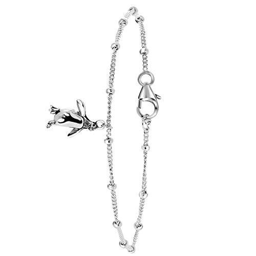 (Lucardi - Armband aus 925 Silber, Pinguin für Damen - Silber - Länge 18 cm)