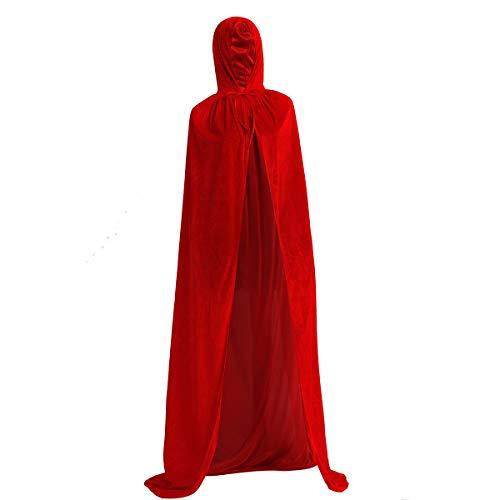 Tiaobug Unisex Halloween Umhang aus Samt Damen und Herren Karneval Fasching Weinachten Kostüm Cape mit Kapuze Verkleidung Outfit in 5 Farben Rot XL