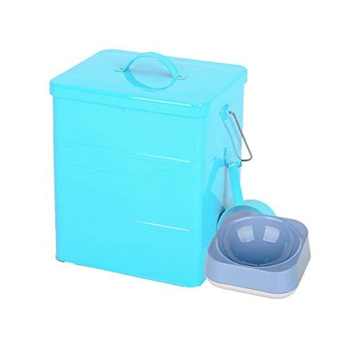 Pet Food Bin mit Pet Bowl Tierfutter-Behälter Pet Food Storage-Dose Lagerplätze Food Storage Container 1 Tasse gemessen Scoop (Farbe : Blau, größe : 15L Square barrel) -