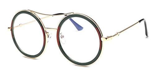 YYXXZZ Sonnenbrillen Damen grün rote runde Sonnenbrille Frauen Sonnenbrille weibliche transparente Brillen, Jin Qing (Jins Brille)
