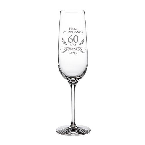 Copa de cava para cumpleaños – 60 cumpleaños – Personalizada con el NOMBRE – Con elegante felicitación – Idea de regalo para cumpleaños – Regalo para hombres y mujeres – Copa de champán o de Prosecco – Copa con forma de tulipa