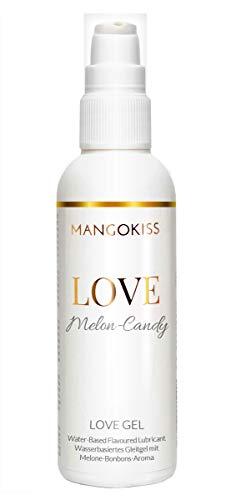 MangoKiss LOVE MELON-CANDY - Essbares Gleitgel mit Melone Bonbons Geschmack - Veganes Gleitmittel auf Wasserbasis - kondomgeeignet, für Oralverkehr, Sex