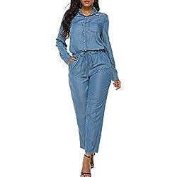 Zojuyozio Femmes Denim Barboteuse À Manches Longues Cheville Jeans Pantalons Pantalons Combinaisons Bleu XXL