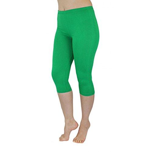 Blickdichte Leggings für Damen Capri Hose Leggins Bunt aus Baumwolle 3/4 Länge, Farbe: Grün, Größe: 44-46 (Damen Grüne Hose)