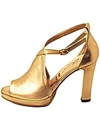 La Maga Circe Elegante Scarpa con Tacco 10 cm Cinturino alla Caviglia in  Vera Pelle Morbidissima Color Platino… 6db4acce458