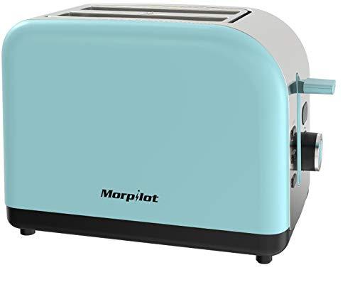 Toaster Edelstahl, Morpilot Toaster 2 Scheiben integrierter Brötchenaufsatz, Automatik-Toaster 6 Bräunungsstufen,Brotzentrierung, Krümelschublade, Auftau