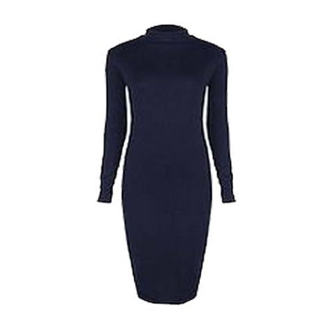 Trendy-Clothings - Robe Femme Col Polo Tortue À Manches Longues Extensible Moulante Mi-Longue - M/L 40-42, Bleu marine
