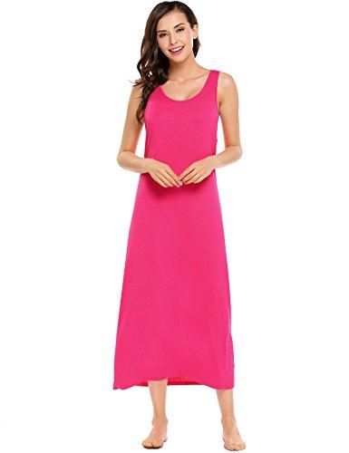Avidlove Damen Nachthemd Schlafanzüge Nachtwäsche Negligees Ärmellose Dehnbar BodyCon Kleid Solide Schlank Wadenlange Dessous- Gr. M/EU 40-42, Rosa -