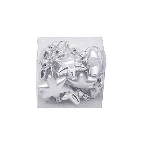 Wide.ling 12 Stück kleine Weihnachtsbaum Anhänger, Herz, Sterne Ball Ornament Dekoration (Silver-Star) (Silver Star Dekorationen)