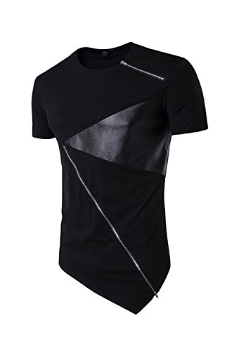 ge T-Shirt Kurze Ärmel Tees Unregelmäßig Patchwork Black L (Vater Sohn Halloween Kostüm)